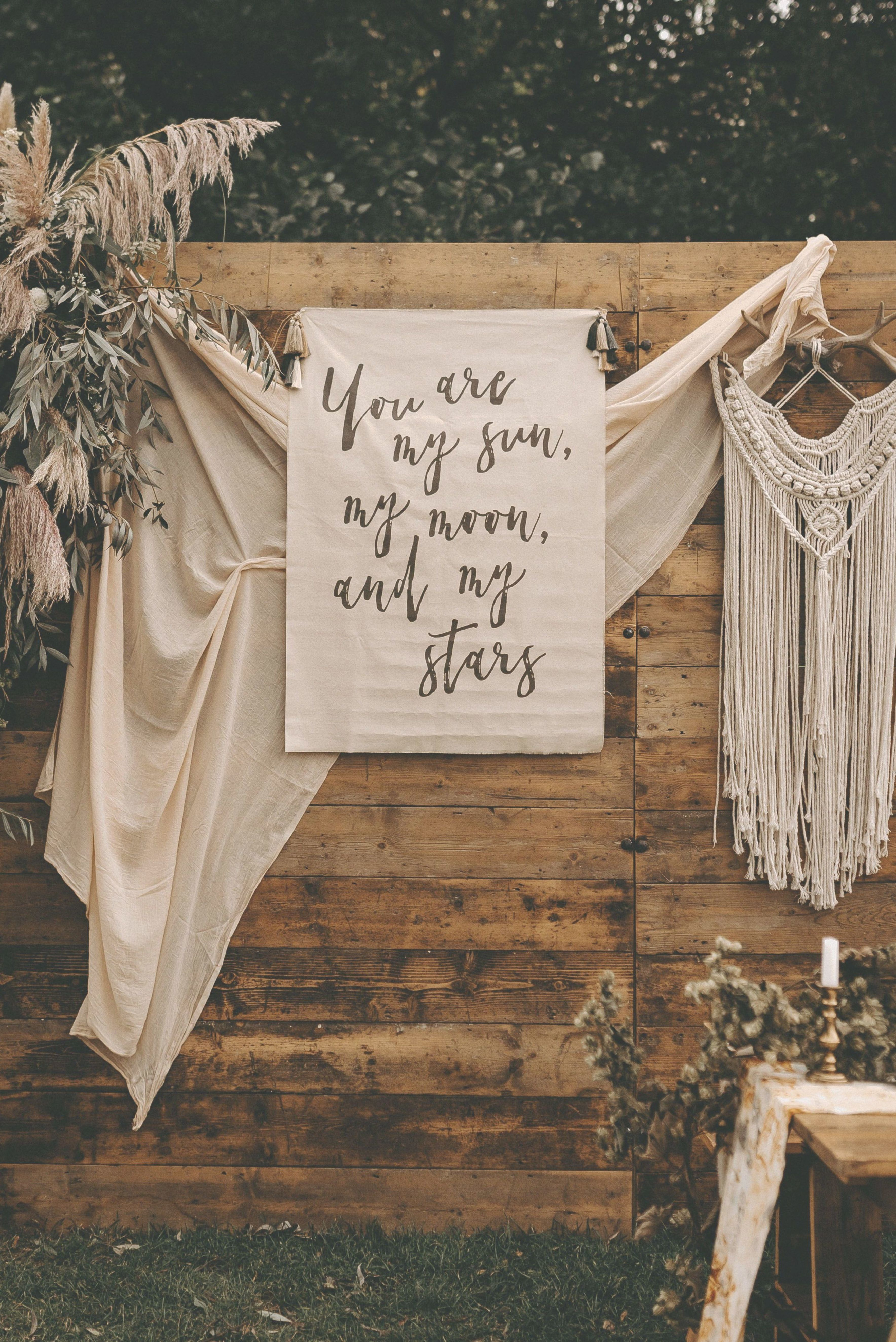 You are my sun my moon and my stars handwritten fabric wedding banner by Wonderland Invites Boho wedding styled shoot at Browning Bros Chalkney Water Meadows in Essex wit...