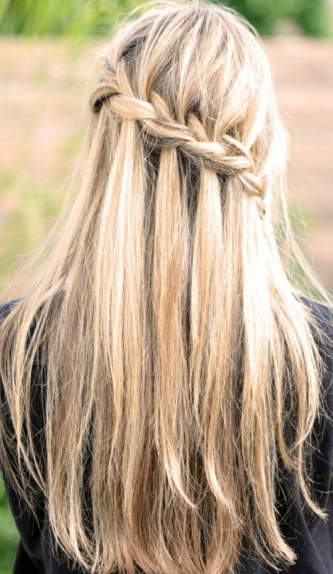 Waterfall Braid For Long Straight Hair Back View Hairstyles Weekly Hair Styles Long Hair Styles Cool Hairstyles