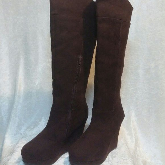 Suede brown boots Beautiful suede brown boots. Brand new and perfect for this time of year!!! Qupid Shoes Winter & Rain Boots