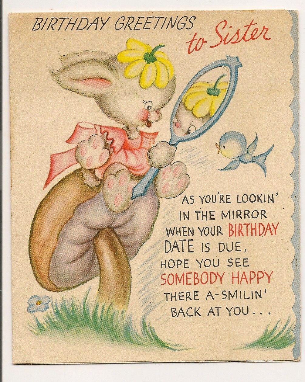 Vintage Birthday Greetings Card To Sister