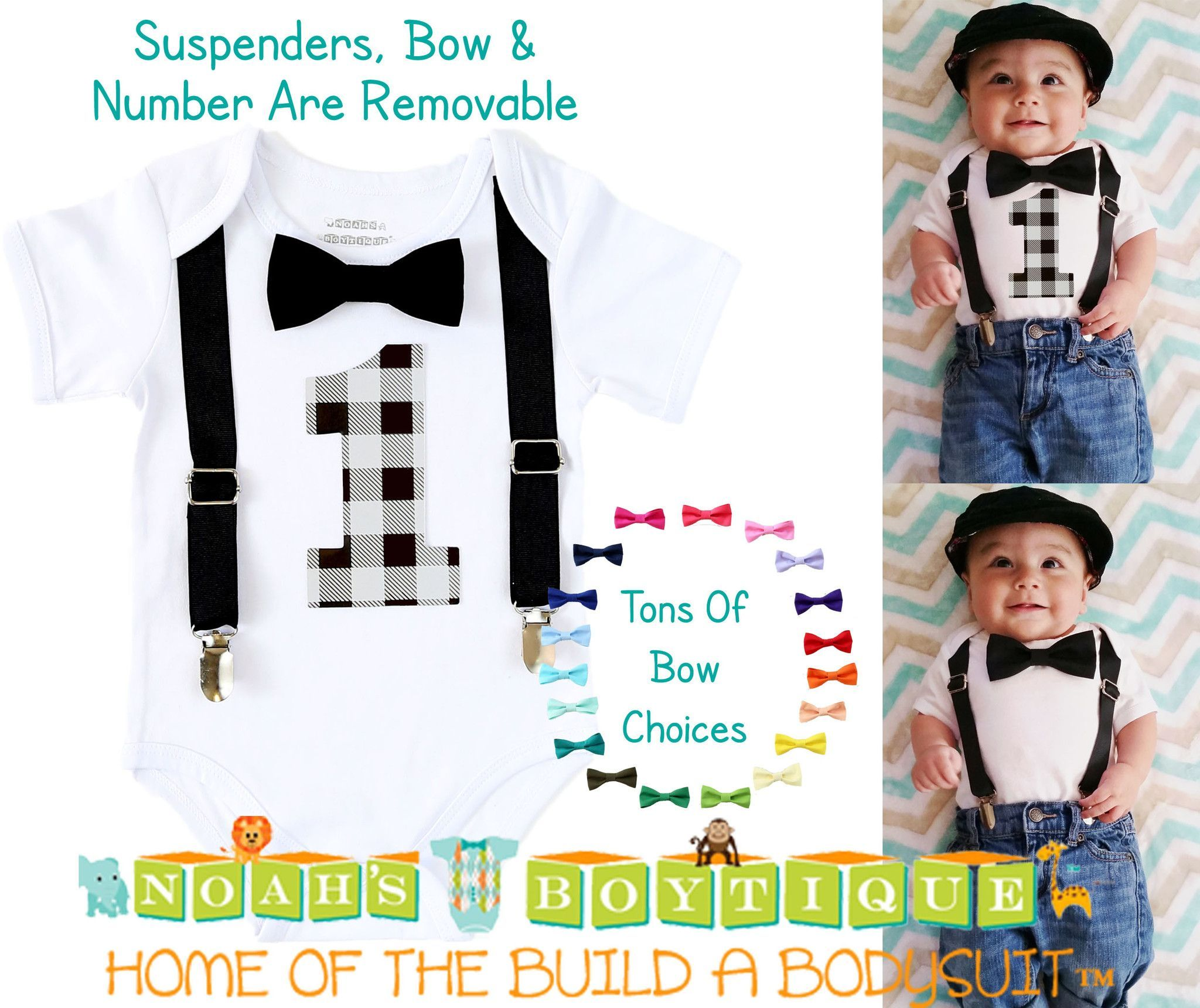 Boys First Birthday Outfit Grey and Black Buffalo Plaid Little Man