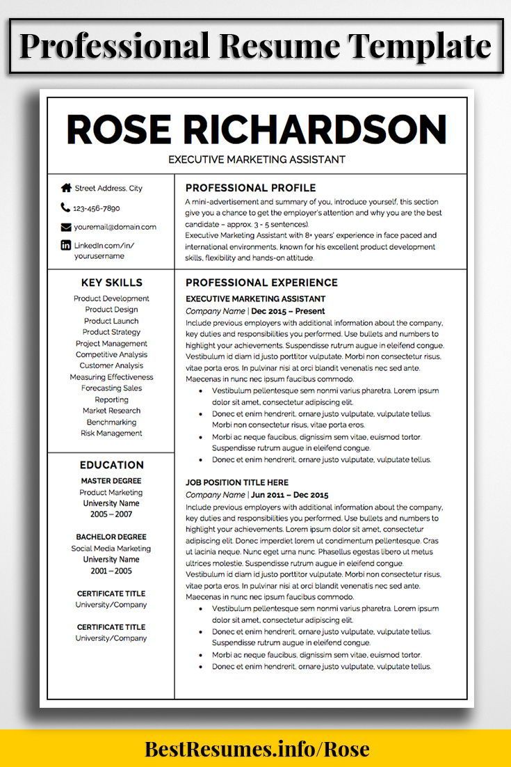 Resume Template Rose Richardson   Modern resume template, Job resume ...