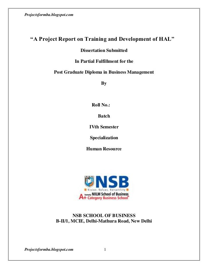 A Project Report on Training and Development of HALu201dDissertation - project report