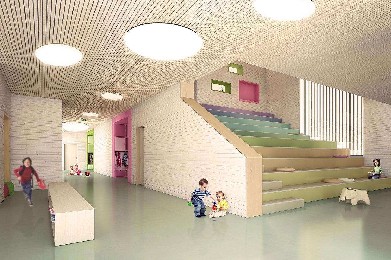 Haus Der Kleinen Fusse Wettbewerb 1 Preis Michels Architekturburo Georgsmarienhutte Neubau Kindertagesstatte K Kinder Gartenhaus Kindergarten Innenraum Haus