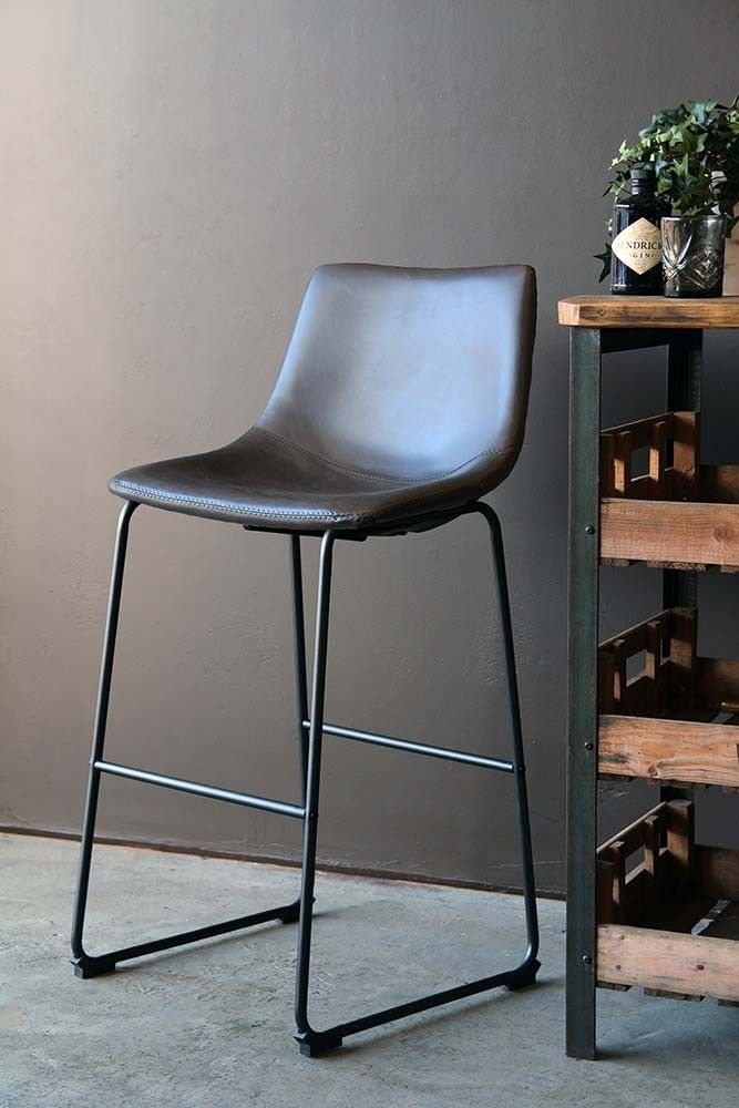 Tyler Faux Leather Bar Stool Charcoal Grey From Rockett St