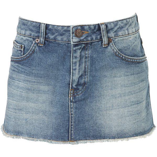 MOTO Vintage Denim Skirt (€52) ❤ liked on Polyvore featuring skirts, bottoms, denim, denim skirt, vintage denim skirt, vintage skirts, blue denim skirt and knee length denim skirt