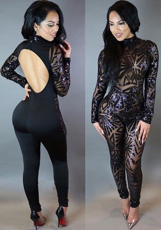 82372e5d8c4 Black Patchwork Sequin Backless Long Sleeve Clubwear Bodysuit Long Jumpsuit