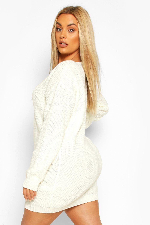 Womens Plus VNeck Sweater Mini Dress Black 12 in 2020