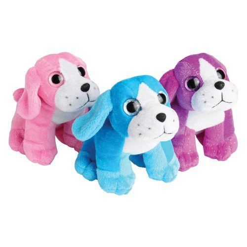 Set of 3 Adorable Plush Glitter Sitting Puppy Dogs (Approx. 5 In.) / Party / Prize / Favor /Gift