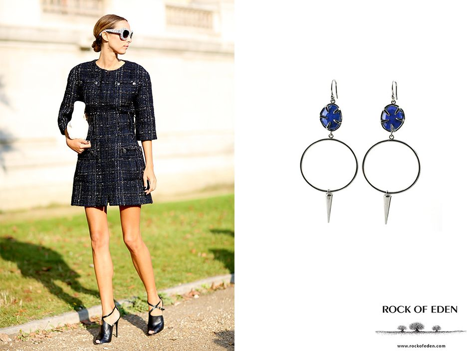 Keep it simple with a dark navy set and matching earrings.