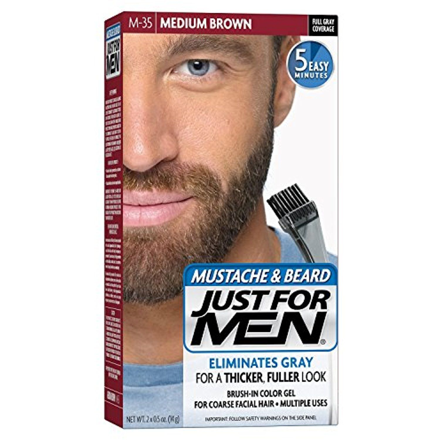 Just for men color brush for mustache and beard medium brown see