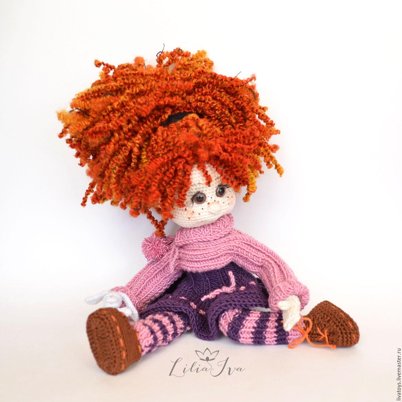 Купить Кукла шарнирная вязаная игрушка - кукла ручной работы, игрушка ручной работы