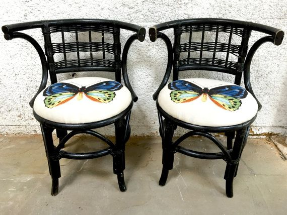 Bamboo Chair Pair Wood Wicker Chairs Upholstered Butterfly Fabric  Butterflies Accent Black Chairs Bohemian Decor Sunroom