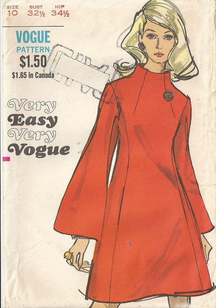 Funnel Neck Dress Vogue Vintage Sewing Pattern Size 10 Pattern
