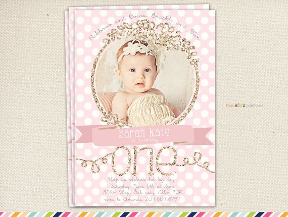 First Birthday Invitations Pink And Gold By RachellesPrintables
