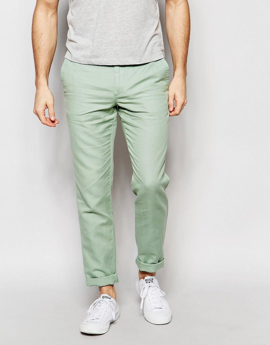 United Colors of Benetton teal slim fit tapered linen pants | All ...