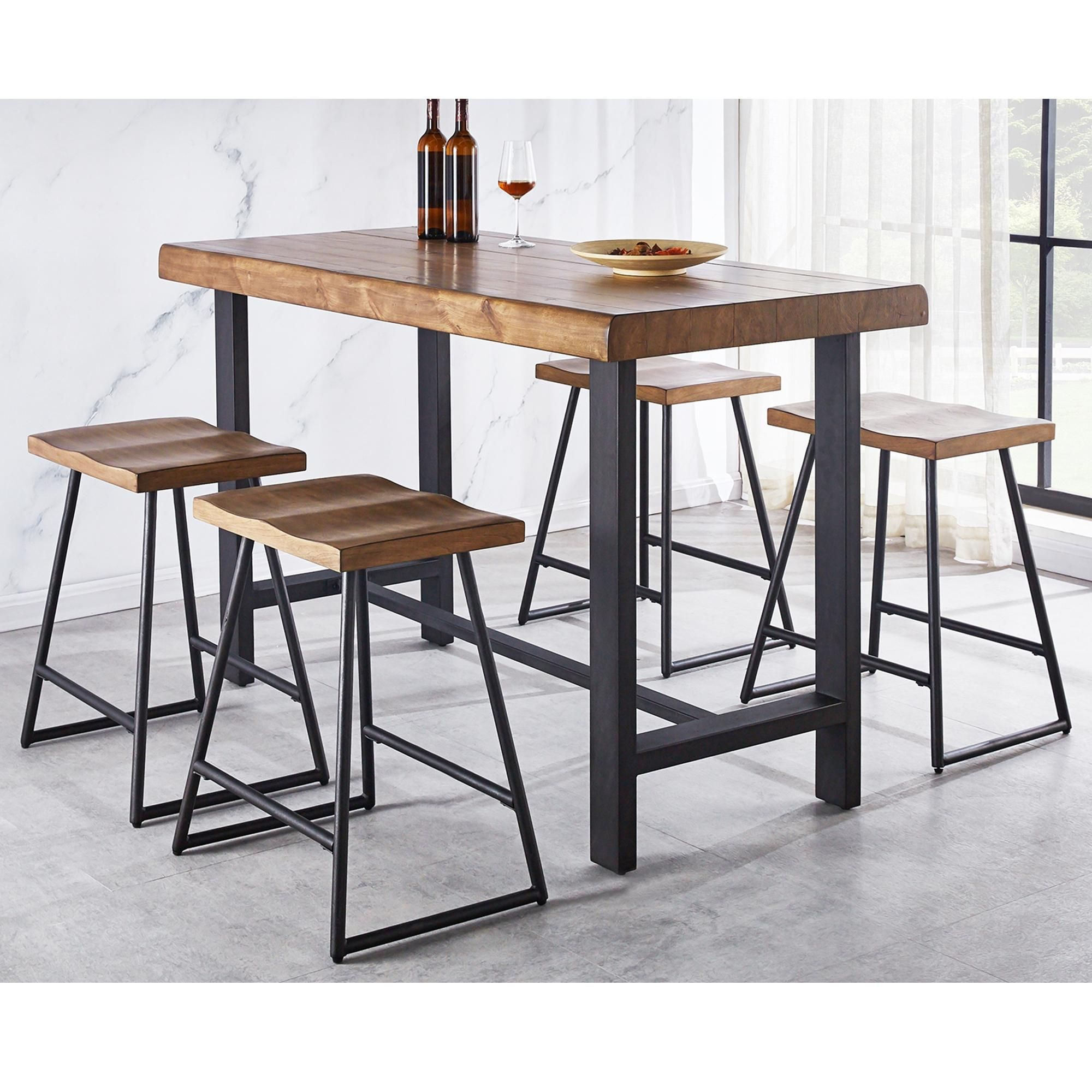 Steve Silver Landon Counter Table And 4 Stools In Natural Honey Nfm Counter Height Dining Sets Counter Height Dining Table Counter Table