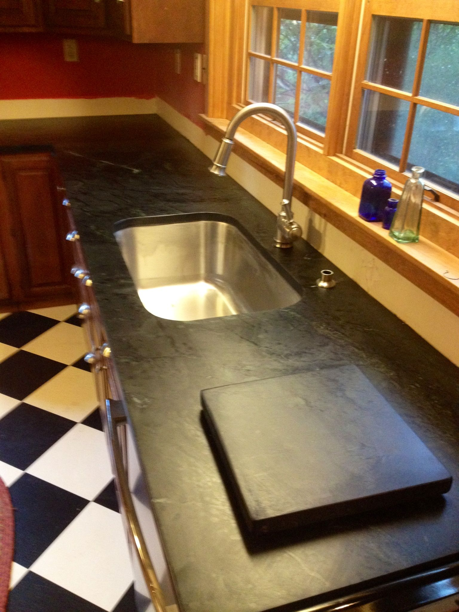 Smoke soapstone counter top looks great with the black and white ...