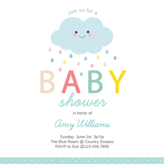 Shower Cloud Printable Invitation Template. Customize, Add Text And Photos.  Print, Download