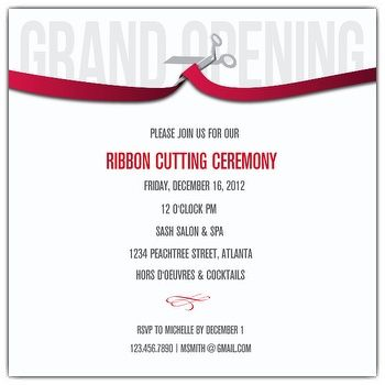 Grand opening Ribbon cutting invitation design template royalty ...