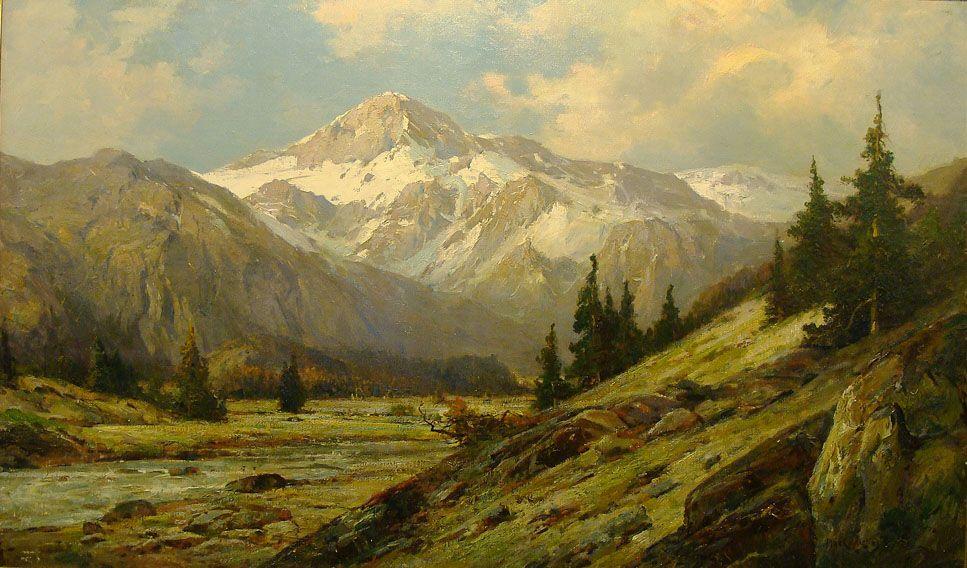 Max Cornelius And A Mountain View 24x40 Oil Mountain Landscape Painting Landscape Paintings Mountain Landscape