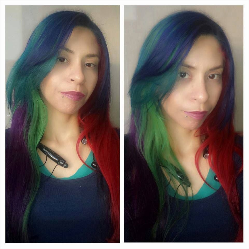 Rainbow Hair With Blue Envy Aqua Rush Neon Green Deep Emerald