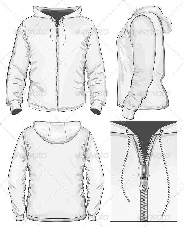 Men S Hooded Sweatshirt With Zipper Fashion Illustration Fashion Illustration Template Hoodie Illustration