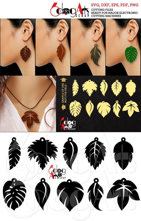 Photo of 10 Earring Pendant SVG DXF Templates Leaf Wood Acrylic Metal Leather Jewelry Download Digital Files Laser Cricut Plasma Die Cutting JB-1189
