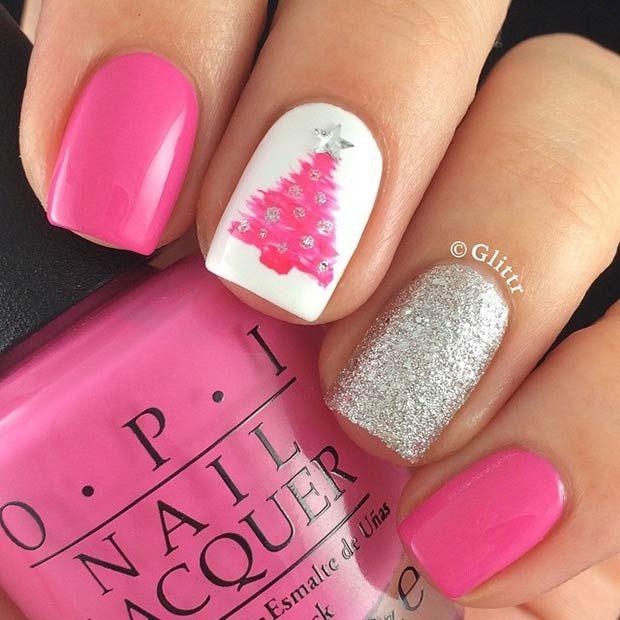 31 Christmas Nail Art Design Ideas | Pink christmas and Christmas ...