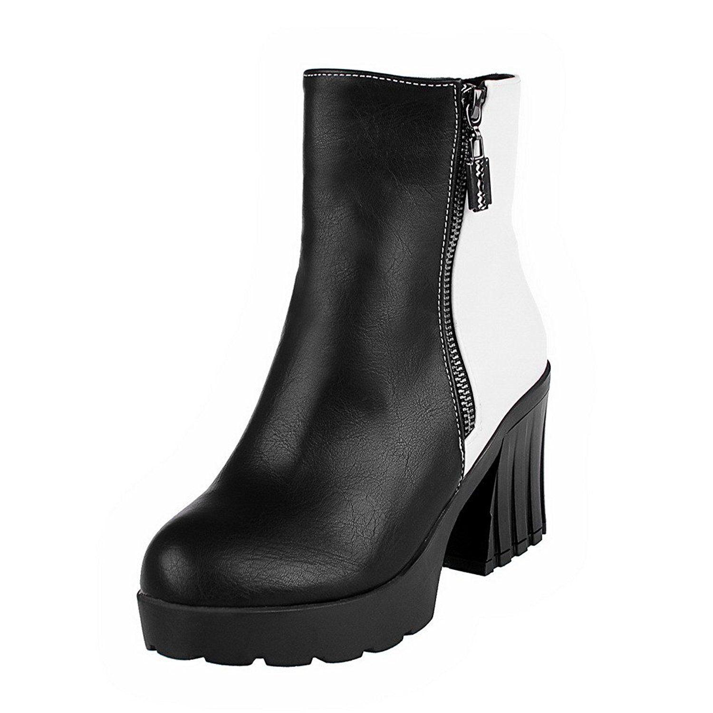 Women's PU Low-Top Assorted Color Zipper High-Heels Boots