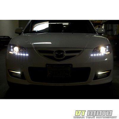 Smoke 2004 2008 Mazda 3 4dr Sedan Led Daytimr Running Light Projector Headlights