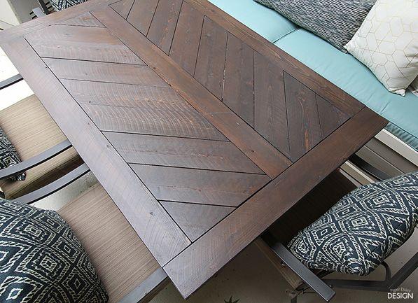 Split Herringbone Patio Tabletop Deeplysouthernhome Wood Patio Table Patio Table Top Diy Table Top