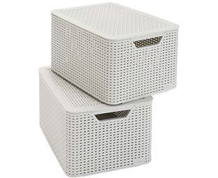Image For Curver Faux Wicker Lidded Storage Boxes (2) From Scotts Of Stow