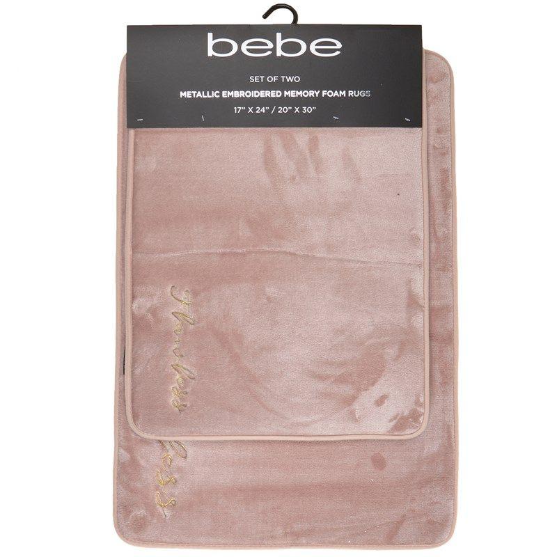 Bebe Rose Gold Memory Foam 2 Piece Bath Rug Set