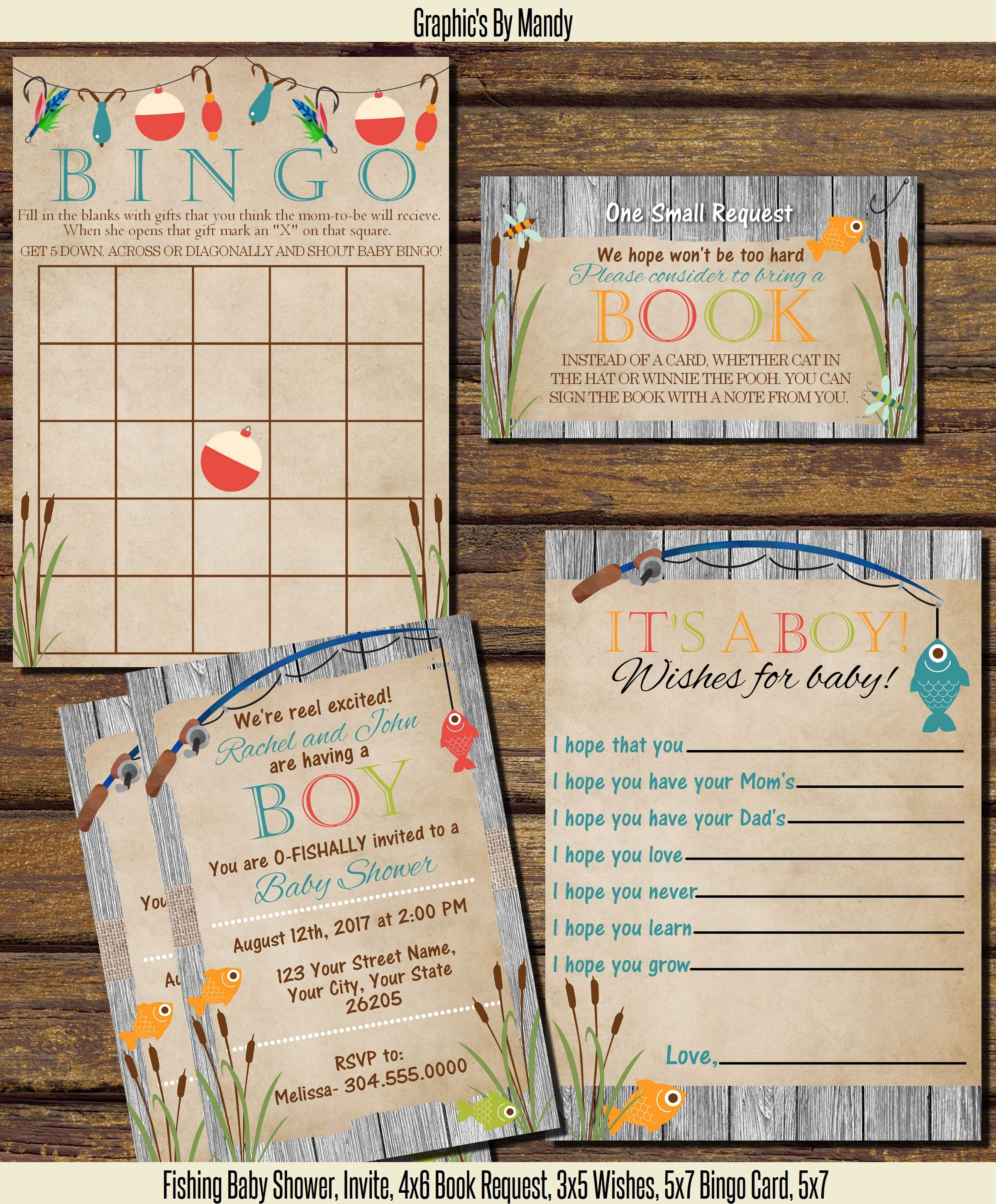 Gone Fishing Baby Shower! Invitation, 4x6 Bingo Card, 5x7, Wishes For Baby