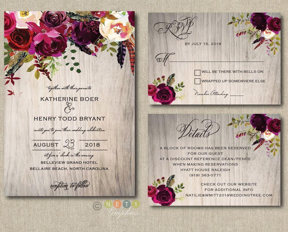 100 Personalized Wedding Invitations Rustic Wood Burgundy Maroon Floral  Suite | Personalised wedding invitations, Country wedding invitations, Wedding  invitations rustic