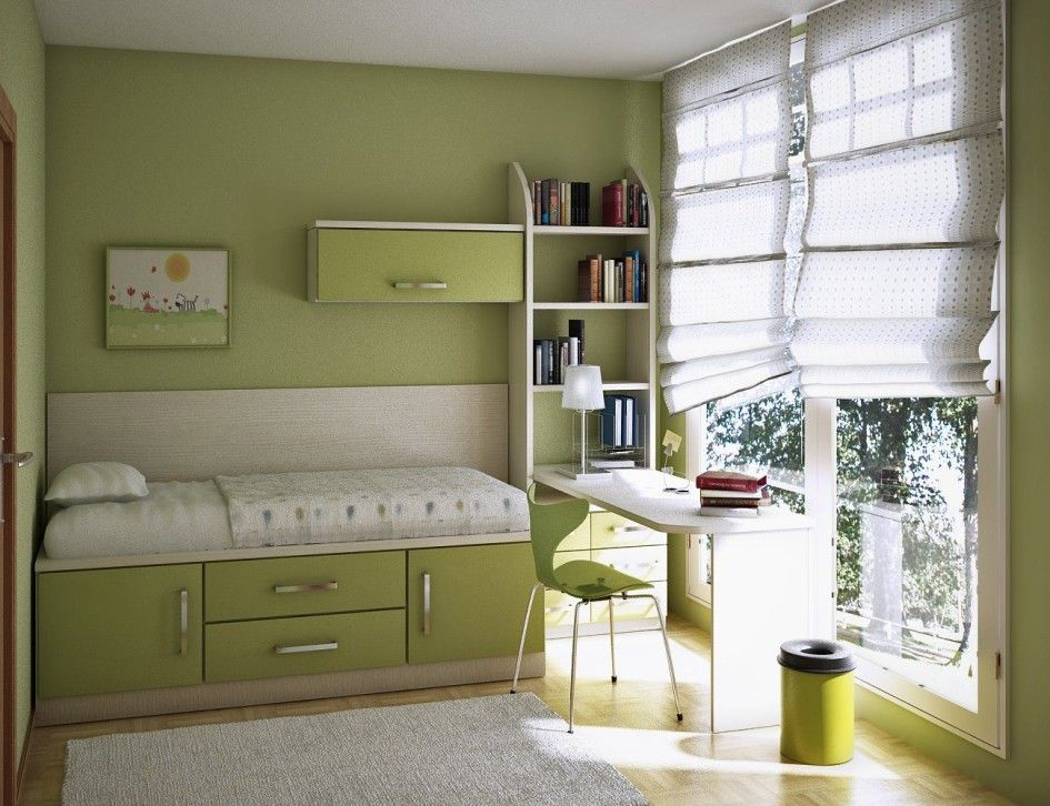 Kids Room, Dazzling With Single Bed On Platform Drawers And Furnished With Desk Combined With Cupboard Green Wall Color Of Kids Room Paint Ideas Completed: Colorful and Decoration Kids Room Color Ideas