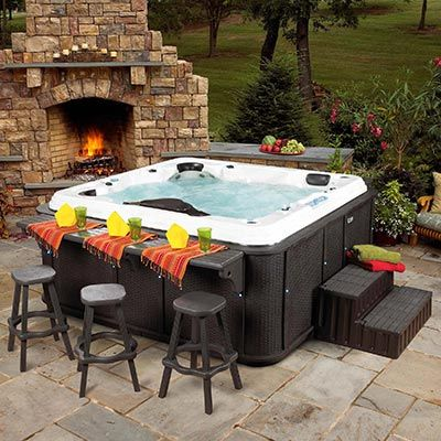 A hot tub with a bar counter