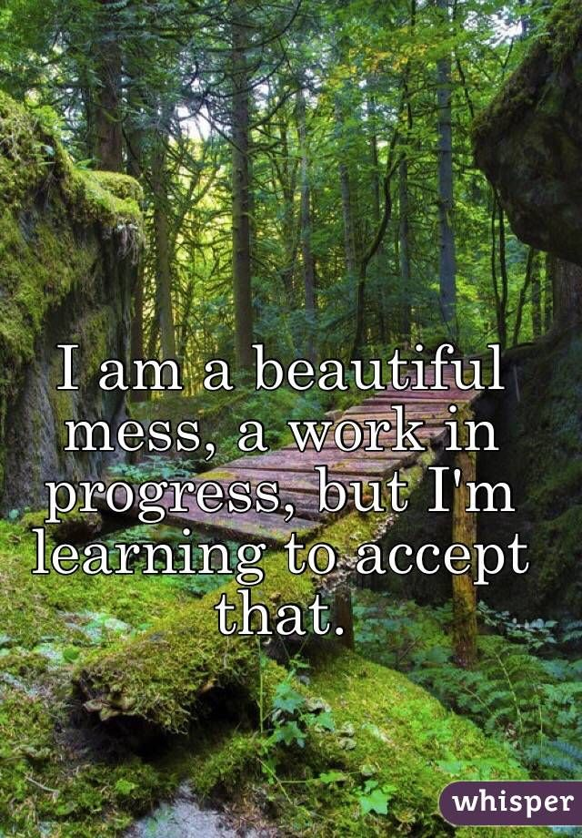 I Am A Beautiful Mess A Work In Progress But I M Learning To Accept That Work In Progress Quotes Progress Quotes Courage Quotes