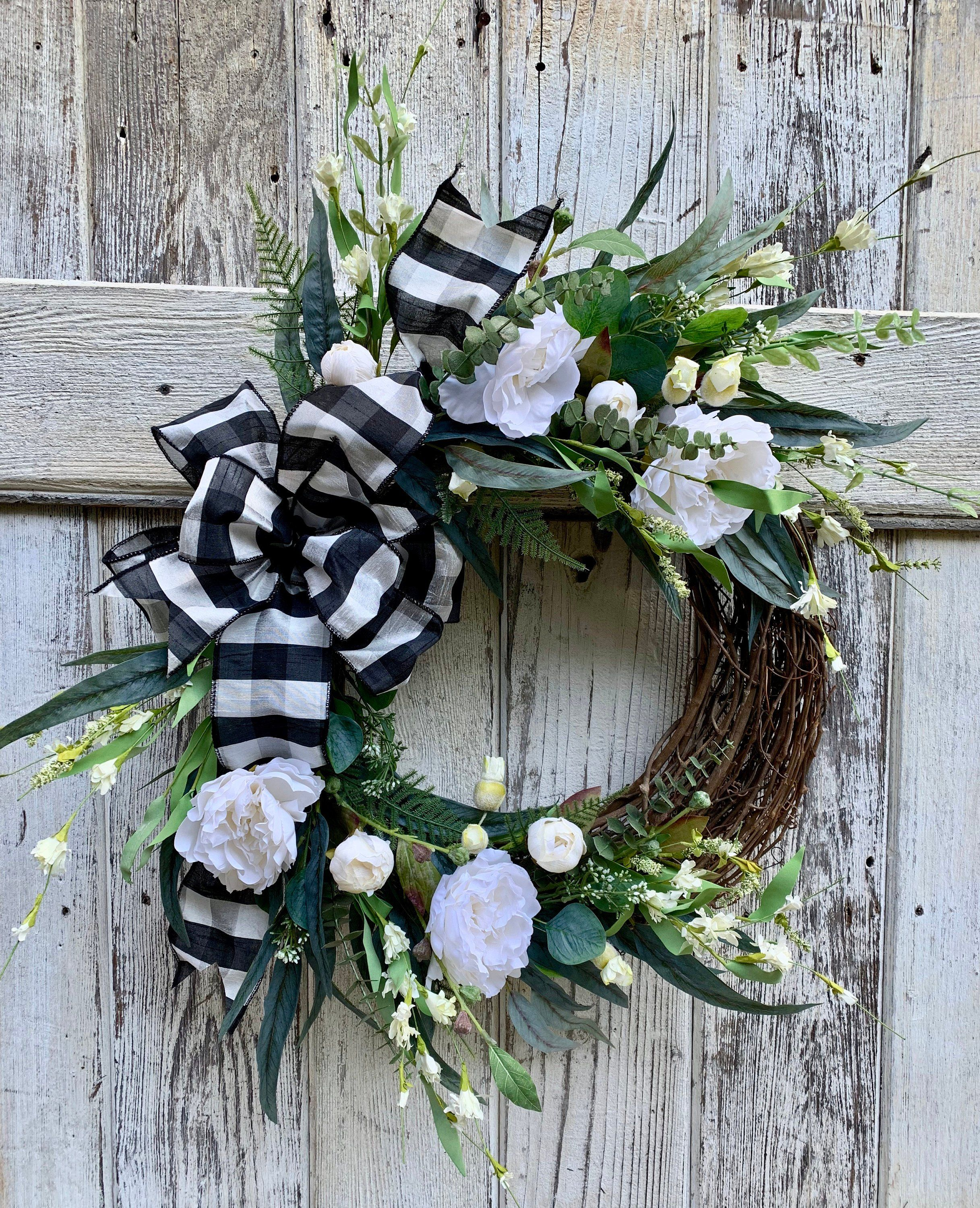 Farmhouse Wreath Modern Farmhouse White Peonies Wreath Front Door Decor Wedding Gift Housewarming Farmhouse Wreath Everyday Wreath Wreaths For Front Door