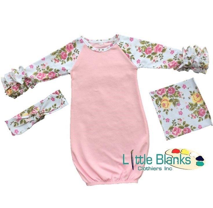 f9f94a194860 Pink Infant Floral Ruffle Raglan Gown   Headband