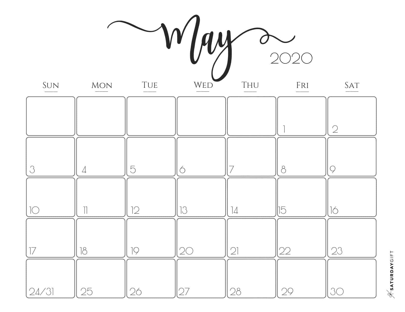 Cute Free Printable May 2020 Calendar In 2020 Monthly
