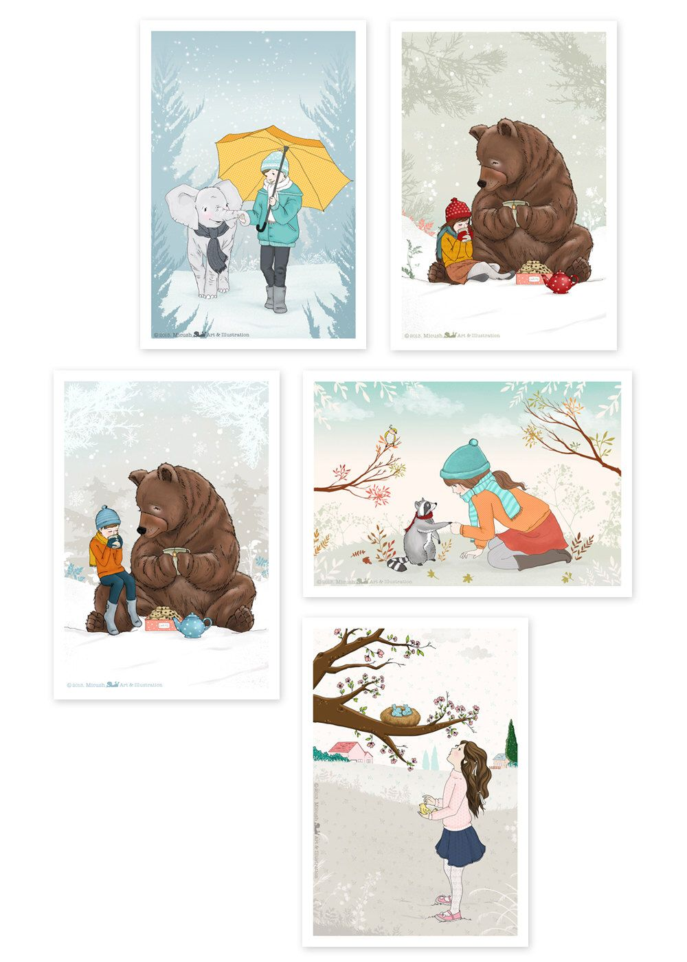 Winter Series Set Of 5 Greeting Cards 39 X 59 Can Be
