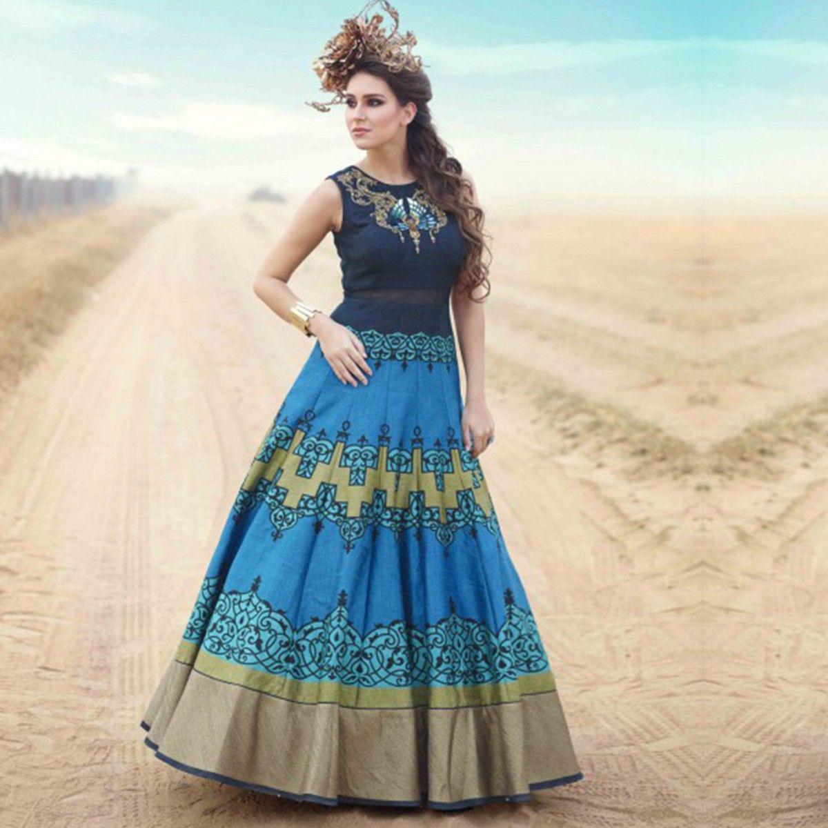 Blue Pure Bhagalpuri Digital Print Work Suit | Digital prints, India ...