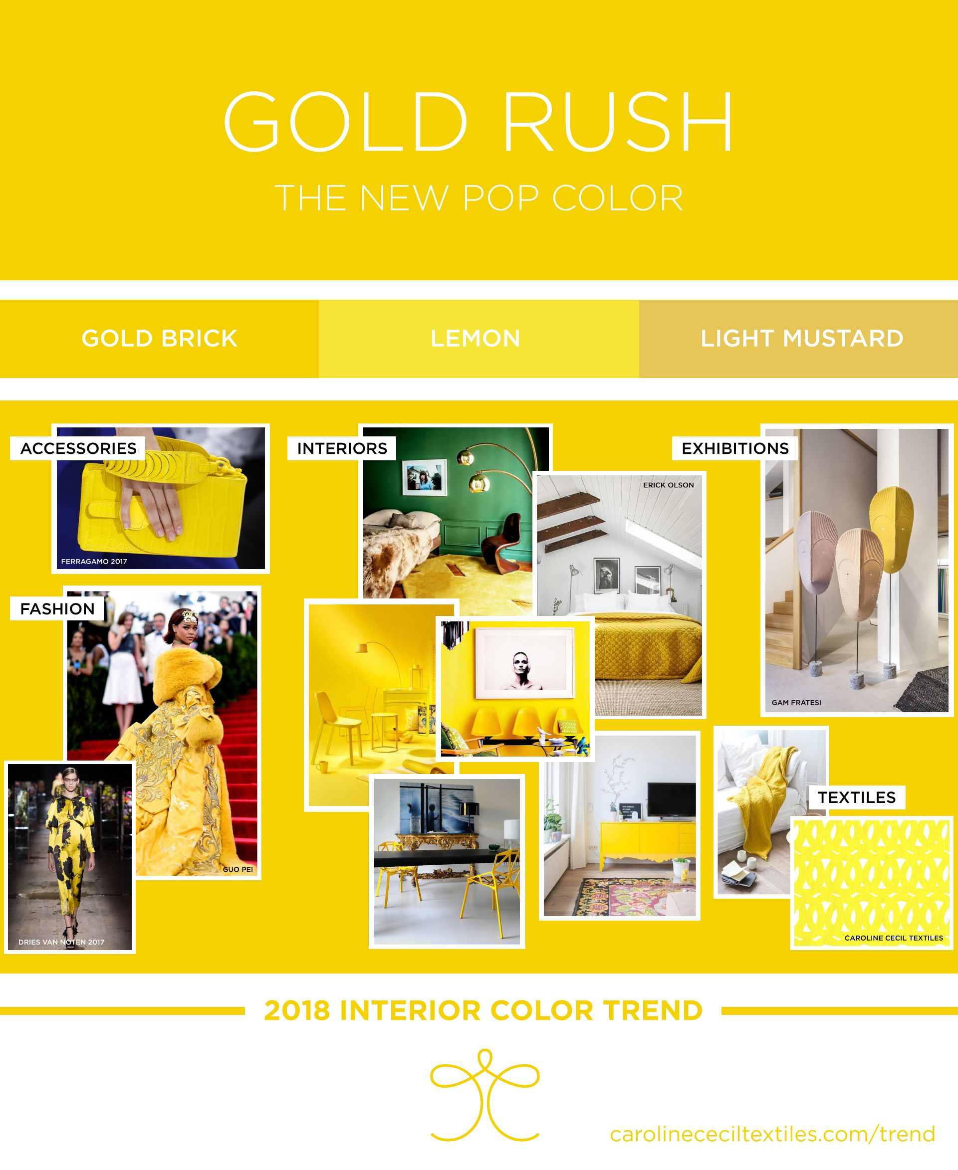 Interior color trend 2018 | yellow | lemon | pollen | gold rush ...