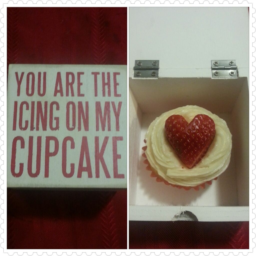 A little gift for my special someone. Vanilla cupcake with Vanilla buttercream and a heart shape strawberry