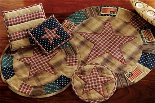 Country Kitchen Decor Patriotic Patch Primitive Bedding Braided Rugs