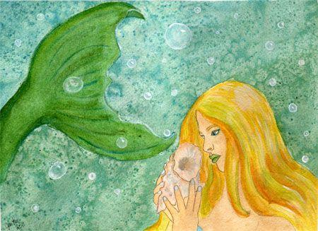 Dreaming on Aquamarine Tides Original Painting/ Illustration
