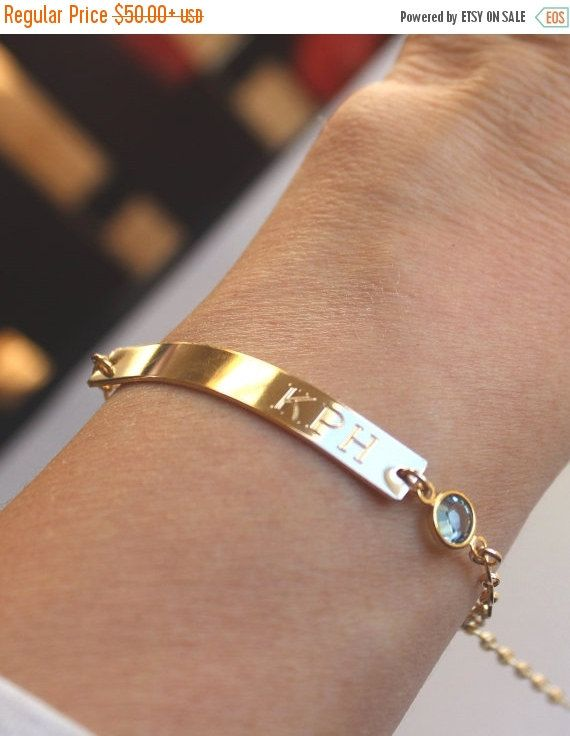 ON SALE Wedding Date Gold Bar Engraved Bracelet by LillaDesigns