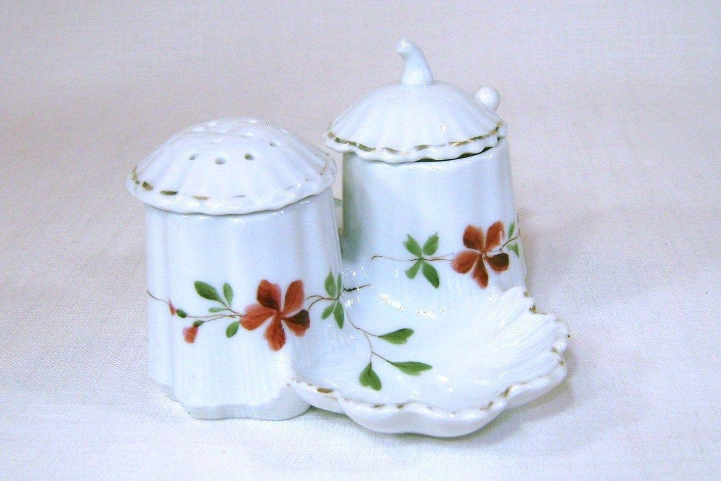 Antique Bavarian Porcelain Cruet Set With Salt Dip Pepper Etsy Cruet Antiques Condiment Caddy